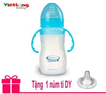 Bình sữa silicon có tay cầm XDY 240ml (xanh) + Tặng thêm 1 núm ti DY
