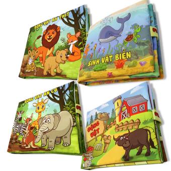 Bộ 4 sách vải cho bé chơi mà học Pipo - Động vật và Sinh vật biển