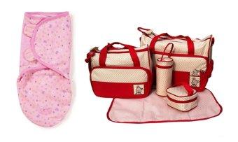 Bộ Chăn quấn bé Shopconcuame pink flower (Hồng) và Túi đựng đồ cho mẹ và bé 5 món Shopconcuame (Đỏ)