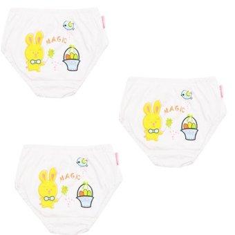 Bộ 3 quần lót bé gái Hello trắng (hình thỏ)