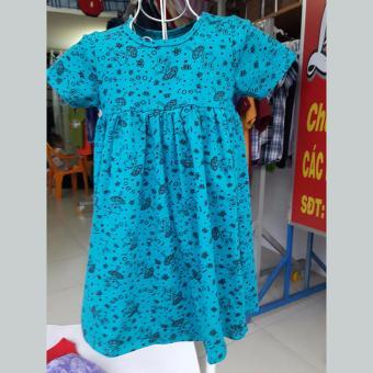 Quần áo trẻ em Đầm thun bé gái màu xanh hoa văn
