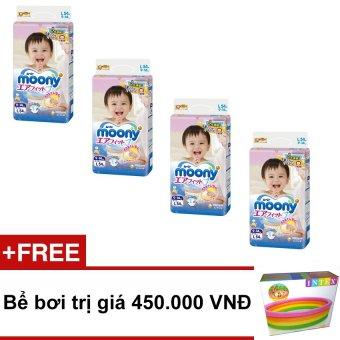 Bộ 4 tã giấy Moony Tape L54 + Tặng 1 bể bơi trị giá 450.000 VND