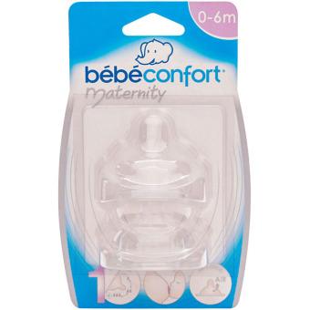 Bộ 2 Núm vú Silicon Cổ Rộng Bebe Confort (0- 6 tháng tuổi)