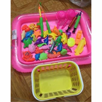 Bộ đồ chơi câu cá cho bé kèm bể phao có bơm tay (Bể cá màu hồng) - BV