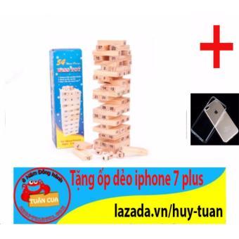 Trò chơi rút gỗ 54 thanh mini X-1 + Free ốp dẻo trong suốt iphone 7 plus