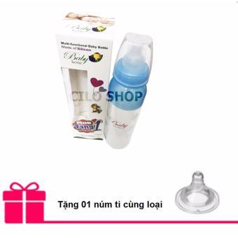 Bình sữa silicone kiêm bình thìa Baby Love 210ml (Xanh) + Tặng 01 núm ti cùng loại