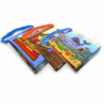 Bộ 3 sách vải có quai sillicon Pipo Vietnam (Sinh vật biển, hình khối, rau củ quả)