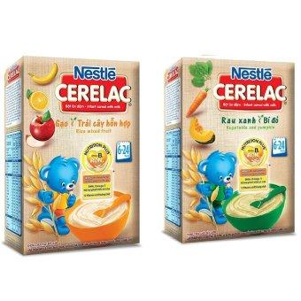 Bộ 2 Bột ăn dặm Nestle GẠO TRÁI CÂY VÀ RAU XANH BÍ ĐỎ 200g