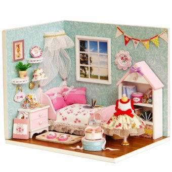 Mô hình nhà gỗ DIY- Căn phòng bé gái B01