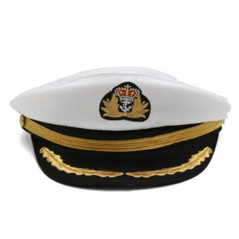 Adult Yacht Boat Captain Navy Sailor Cap Hat Fancy Dress Costume Party Accessory White - intl