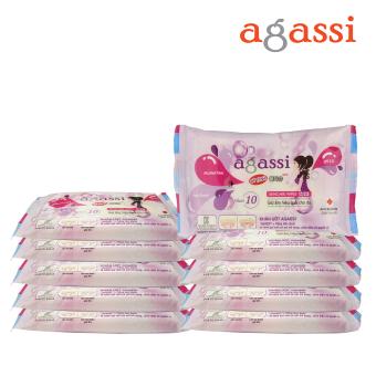 Bộ 10 gói khăn ướt Agassi hương nhẹ 10 tờ (Màu tím)