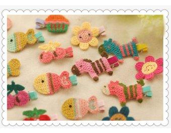 Bộ 2 kẹp tóc handmade bằng len cho bé gái hình hoa KTEAH30-sl2