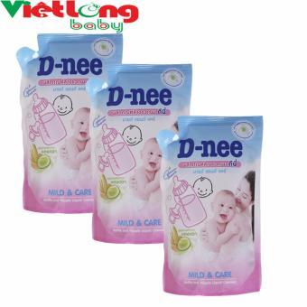 Bộ 3 túi nước rửa bình sữa D-nee 600ml