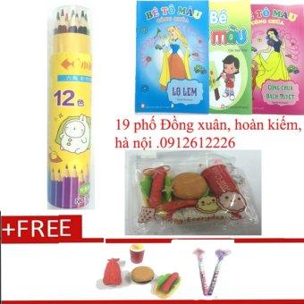 Bút chì cốc 12 màu sắc + tặng bộ sách tập tô màu cùng bộ tẩy đồ ăn và đôi bút chì khúc đầu xúc xắc