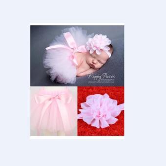 Bộ băng đô và váy chụp ảnh cho bé (Hồng nhạt)