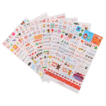 6 Sheets Cute Transparent Calendar Diary Book Scrapbook Decoration Stickers - Intl