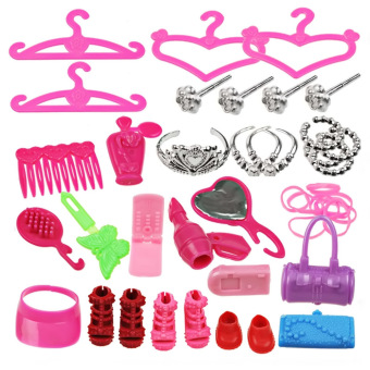 42 PCS Doll Playsets Headwear Shoes Combs Dress Make Up Cosmetic Accessories for Girl Dolls Toys