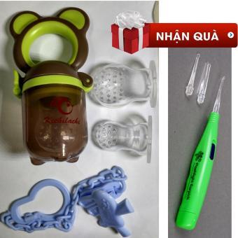 Túi nhai kichilachi hàng Việt Nam xuất Nhật tặng 01 lấy ráy tai có đèn (Xanh phối nâu)