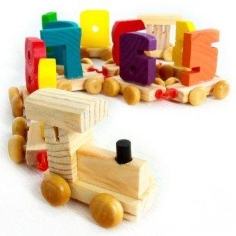 Đồ chơi xe lửa gỗ chở số bằng gỗ MR01