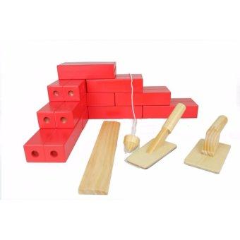 Bộ gạch xây dựng bằng gỗ loại to (viên 14 x 7 x 3,5 cm)
