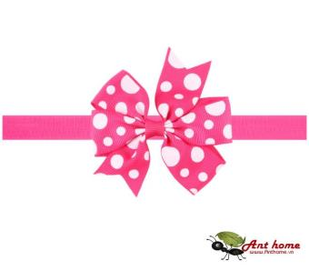 Phụ kiện tóc băng đô handmade cho bé AHBĐ6 mầu hồng chấm bi trắng (số 7)