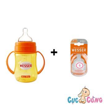 Bộ bình sữa wesser 180ml + Vỹ ty Wesser Size S 2 cái/vỹ