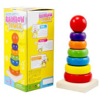 Đồ chơi gỗ tháp cầu vòng 7 sắc