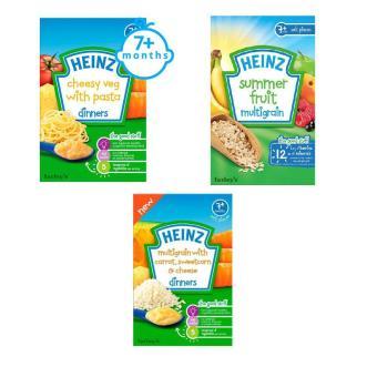 Bộ 1 hộp bột ăn dặm vị rau củ phô mai với mì ý + 1 hộp bột ăn dặm vị ngũ cốc ngày hè + 1 hộp bột ăn dặm vị ngũ cốc carrot phomai bắp ngọt Heinz
