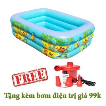 Bể bơi 3 tầng cho bé swimming pool 150x100x50 kèm bơm hơi điện