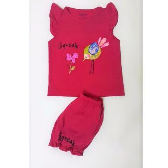 Bộ quần áo bé gái cực xinh (màu hồng đậm)
