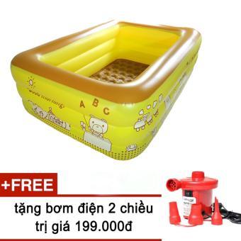 Bể bơi phao 3 tầng cho bé size to 210x145x65cm mẫu mới 2017 + Tặng bơm điện (Vàng chanh)