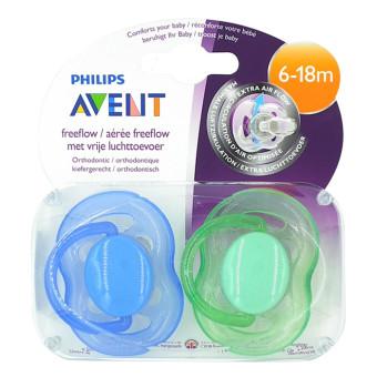 Bộ 2 ty ngậm Silicone màu sắc cho bé từ 6-18 tháng tuổi Philips Avent 178.24