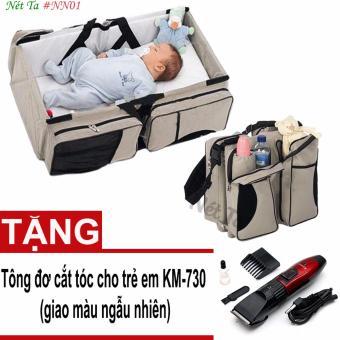Nôi du lịch xách tay kiêm túi đựng đồ Nét Ta #NN01 + Tặng tông đơ cắt tóc cho trẻ em kemei 730