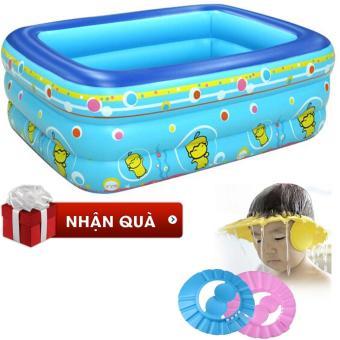 Bể bơi bằng nhựa PVC cao cấp, 3 tầng tặng kèm 01 mũ tắm (xanh dương)