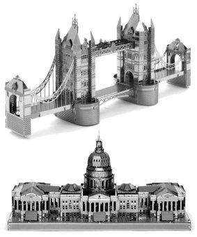 Bộ xếp hình 3D bằng kim loại CẦU THÁP LONDON và NHÀ QUỐC HỘI MỸ