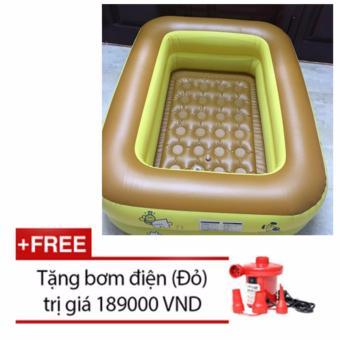 Bể bơi 2 tầng cao cấp cho bé 115cmx85cmx35cm + Tặng bơm điện (Vàng đất)
