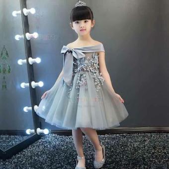 Đầm dự tiệc cao cấp cho bé gái hiệu TUTUPETTI (XÁM).