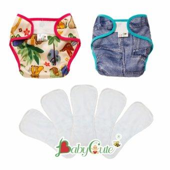 Combo 2 Bộ tã vải dán và 5 lót sơ sinh BabyCute