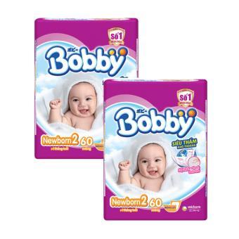 Bộ 2 tã giấy Bobby New Born 2 60 miếng