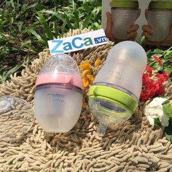 Bộ Bình Sữa Comotomo Silicone 150Ml (Hồng) Và 250Ml (Xanh Lá Nhạt)