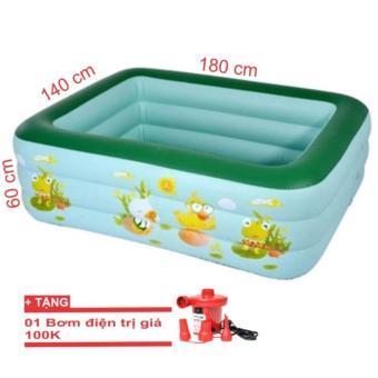 Bể bơi phao gia đình cở lớn 180x140x60cm + tặng bơn điện