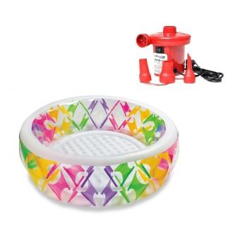 Bộ Bể bơi phao tròn sắc màu Intex 56494 và Bơm điện Intex GB6675