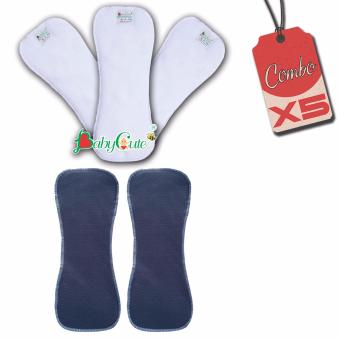Combo 5 lót tã vải (3 lót ngày và 2 lót đêm) BabyCute size M (8-16kg)