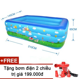 Bể bơi phao 3 tầng cho bé size to 210x145x65cm mẫu mới 2017 + Tặng bơm điện (Xanh dương)