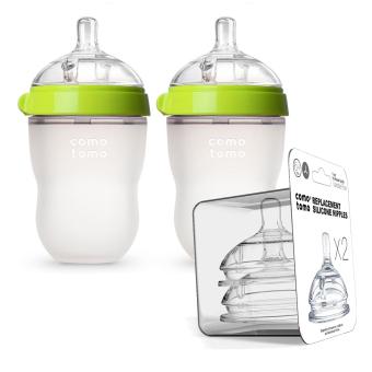 Bộ 2 bình sữa Comotomo 250ml Xanh và 2 núm ty thay thế Y cut dòng theo lượng bé bú