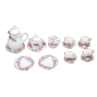 Miniature Ware Porcelain Tea Set Dish Cup Plate Morning Glory 15pc - Intl