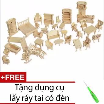 Đồ chơi ghép hình 3D bằng gỗ 184 chi tiết cho bé + Tặng dụng cụ lấy ráy tai có đèn