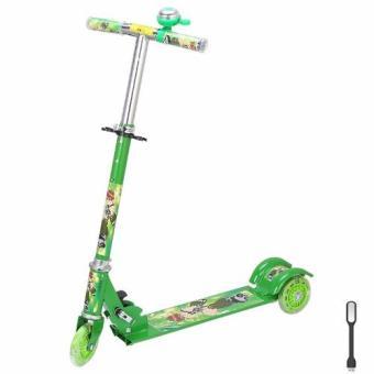 Xe scooter 3 bánh phát sáng, có chuông(Hồng) + Tặng kèm 1 đèn led cổng usb