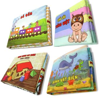 Bộ 4 sách vải cho bé chơi mà học Pipo - Số đếm chữ cái hình khối và Sinh vật biển