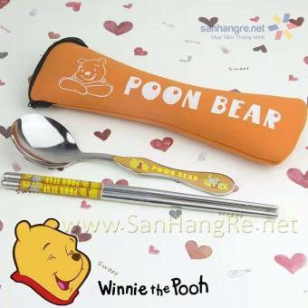 Bộ đũa thìa Inox cao cấp hình gấu Pooh Hàn Quốc